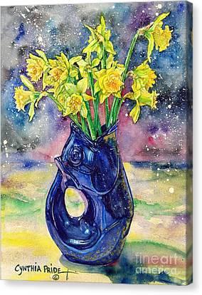 Daffodil Spray Canvas Print by Cynthia Pride