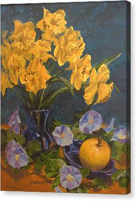 Canvas Print featuring the painting Daffodils by Karen Ilari