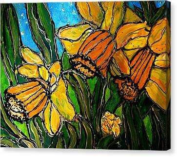 Canvas Print featuring the painting Daffodils by Laura  Grisham