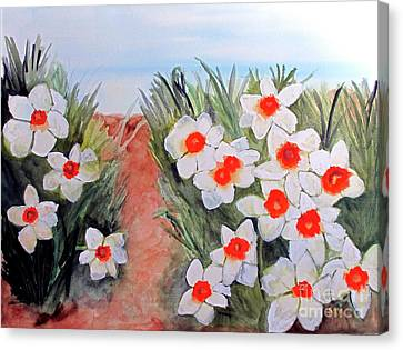 Canvas Print featuring the painting Daffodils by Sandy McIntire