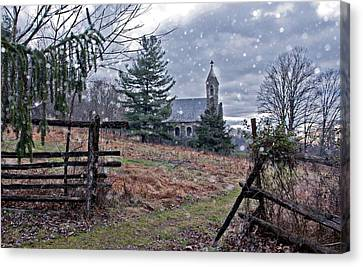 Dahlgren Chapel Winter Scene Canvas Print
