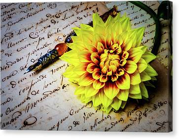 Dahlia And Old Letter Canvas Print
