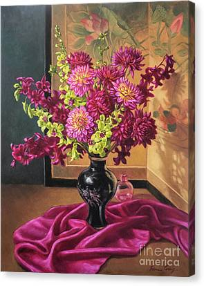 Dahlias And Orchids On Silk Canvas Print by Fiona Craig