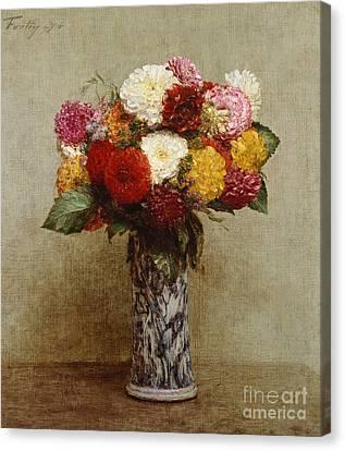 Dahlias In A Chinese Vase Canvas Print by Ignace Henri Jean Fantin-Latour