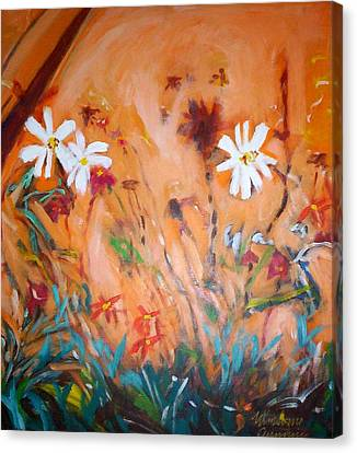 Daisies Along The Fence Canvas Print by Winsome Gunning