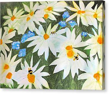 Canvas Print featuring the painting Daisies And Bumblebees by Sandy McIntire