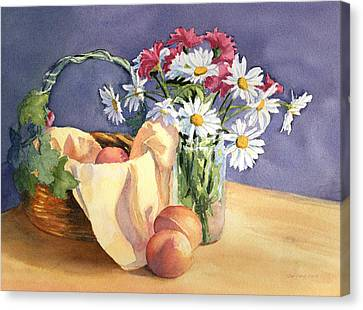Daisies And Peaches Canvas Print
