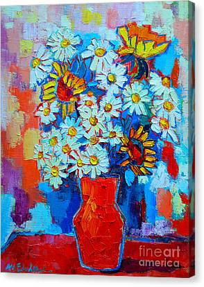 Daisies And Sunflowers Canvas Print by Ana Maria Edulescu