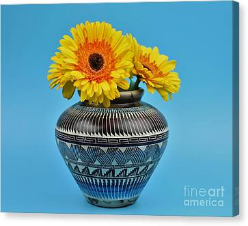 Daisies Displayed In Navajo Native American Vase Canvas Print