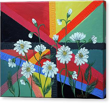 Daisies In A Modern Backgrownd Canvas Print by Gallery Nektarios