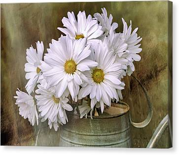 Canvas Print featuring the photograph Daisies In Antique Watering Can by Bellesouth Studio