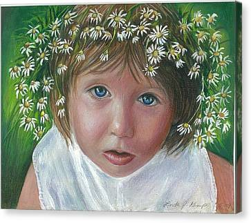 Daisies In My Hair Canvas Print by Linda Nielsen
