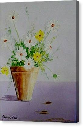 Canvas Print featuring the painting Daisies In Pot by Jamie Frier