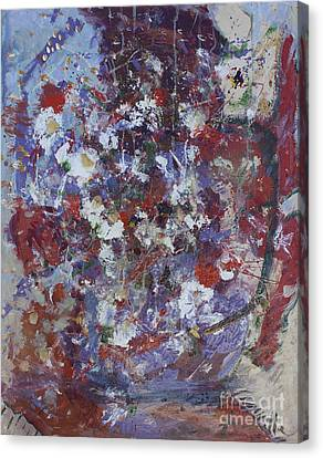 Canvas Print featuring the painting Daisies In Purple by Avonelle Kelsey