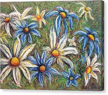 Daisies Pastel Canvas Print by Nancy Mueller