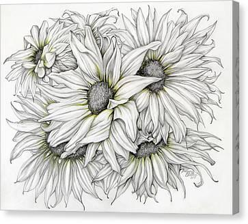 Sunflowers Pencil Canvas Print