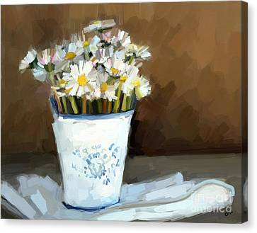 Daisies Study Canvas Print by Carrie Joy Byrnes