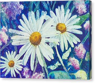 Canvas Print featuring the painting Daisies by Susan DeLain