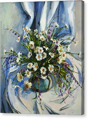Canvas Print featuring the painting Daisies by Tigran Ghulyan