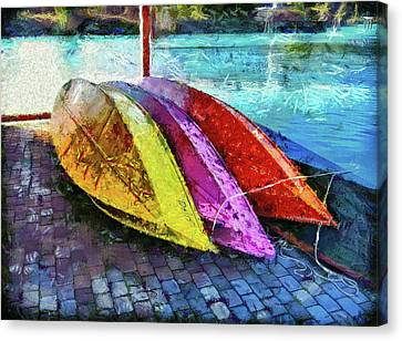 Canvas Print featuring the photograph Daisy And The Rowboats by Thom Zehrfeld