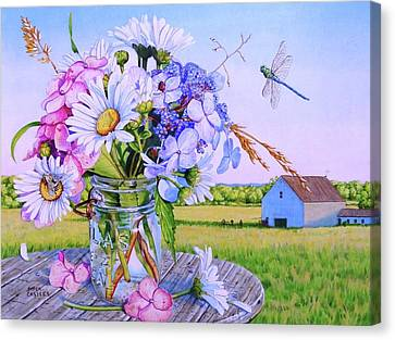 Daisy Bouquet, Maine Farm Landscape, Flowers, Barn, Dragonfly, Hydrangea Flowers, Mason Jar, Bee Canvas Print by Piper Castles