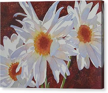 Canvas Print featuring the painting Daisy Dazzle by Judy Mercer