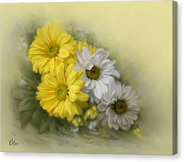 Canvas Print featuring the painting Daisy Spring Bouquet by Bonnie Willis