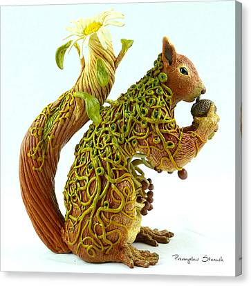 Daisy Squirrel Canvas Print