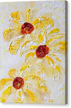 Canvas Print featuring the painting Daisy Trio by Chris Rice