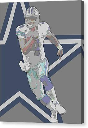 Prescott Canvas Print - Dak Prescott Dallas Cowboys Contour Art by Joe Hamilton