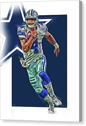 Prescott Canvas Print - Dak Prescott Dallas Cowboys Oil Art Series 1 by Joe Hamilton