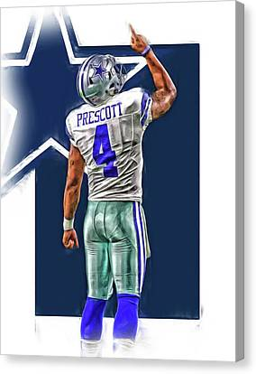 Dallas Canvas Print - Dak Prescott Dallas Cowboys Oil Art Series 2 by Joe Hamilton