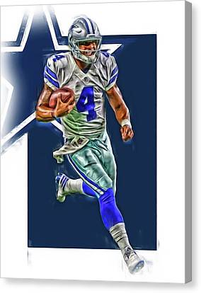 Prescott Canvas Print - Dak Prescott Dallas Cowboys Oil Art Series 3 by Joe Hamilton