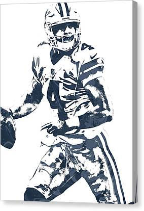 Prescott Canvas Print - Dak Prescott Dallas Cowboys Pixel Art 3 by Joe Hamilton