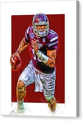 Prescott Canvas Print - Dak Prescott Mississipi State Oil Art Series 1 by Joe Hamilton