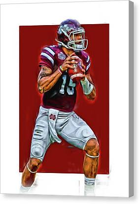 Prescott Canvas Print - Dak Prescott Mississipi State Oil Art Series 2 by Joe Hamilton