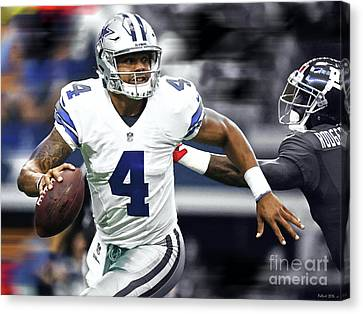 Dak Prescott, Number 4, Quarterback, Dallas Cowboys Canvas Print