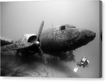 Dc3 Aircraft Underwater Canvas Print by Rico Besserdich