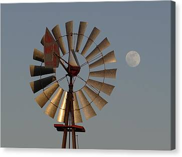 Dakota Windmill And Moon Canvas Print by Keith Stokes