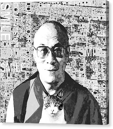 Dalai Lama And Cat Canvas Print