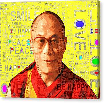 Dalai Lama - Yellow Canvas Print