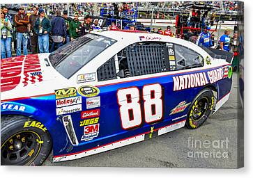 Jr Motorsports Canvas Print - Dale Earnhardt Jr At Bristol Motor Speedway Driving #88 During N by David Oppenheimer