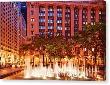 Daley Plaza At Dawn - City Of Chicago - Illinois Canvas Print by Silvio Ligutti