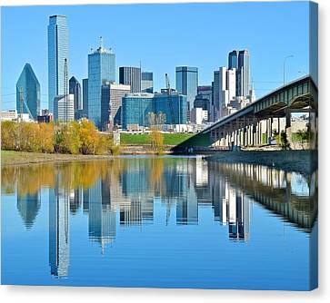 Dallas Above The Trinity River Canvas Print by Frozen in Time Fine Art Photography