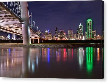 Ewing Canvas Print - Dallas Along Side The Margaret Hunt Hill Bridge by Frozen in Time Fine Art Photography