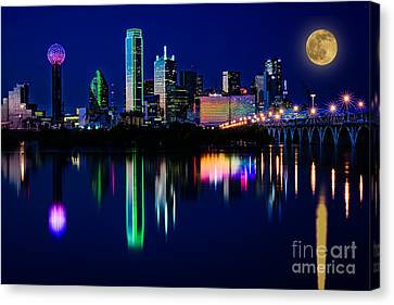 Dallas At Twilight Canvas Print by Tamyra Ayles