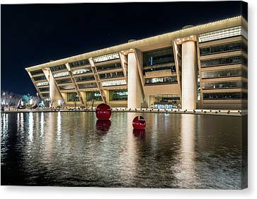 Dallas City Hall Night Canvas Print by Tod and Cynthia Grubbs
