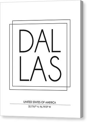 Dallas City Print With Coordinates Canvas Print