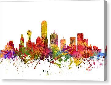 Dallas Skyline Canvas Print - Dallas Cityscape 08 by Aged Pixel