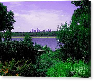 Canvas Print featuring the photograph Dallas From The Park by Robert D McBain
